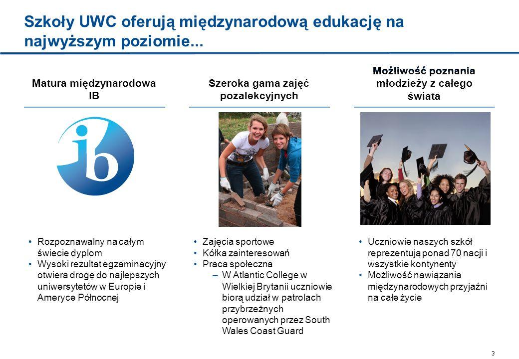 3 Szkoły UWC oferują międzynarodową edukację na najwyższym poziomie... Matura międzynarodowa IB Rozpoznawalny na całym świecie dyplom Wysoki rezultat