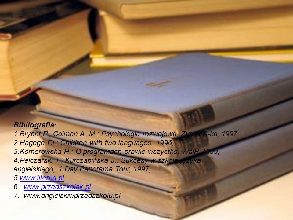 Bibliografia: 1.Bryant P., Colman A. M.: Psychologia rozwojowa, Zysk i S-ka, 1997, 2.Hagege Cl.: Children with two languages, 1996, 3.Komorowska H.: O