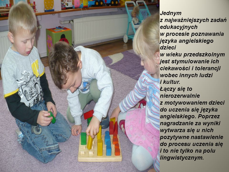 Jednym z najważniejszych zadań edukacyjnych w procesie poznawania języka angielskiego dzieci w wieku przedszkolnym jest stymulowanie ich ciekawości i