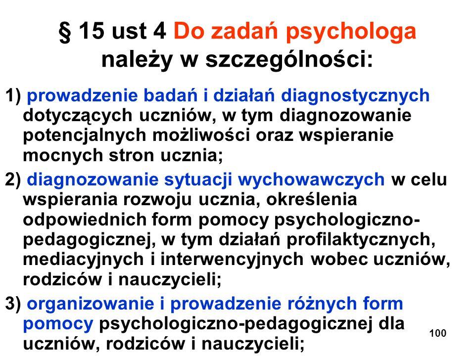 § 15 ust 4 Do zadań psychologa należy w szczególności: 1) prowadzenie badań i działań diagnostycznych dotyczących uczniów, w tym diagnozowanie potencj