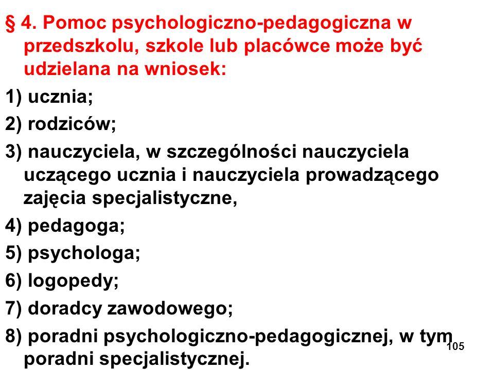 § 4. Pomoc psychologiczno-pedagogiczna w przedszkolu, szkole lub placówce może być udzielana na wniosek: 1) ucznia; 2) rodziców; 3) nauczyciela, w szc