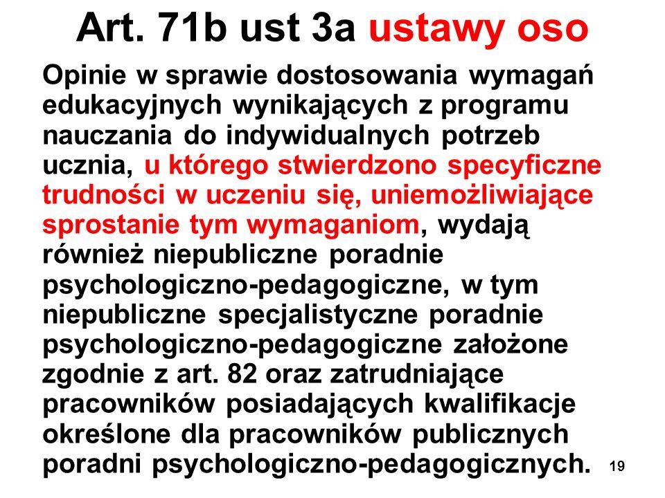 Art. 71b ust 3a ustawy oso Opinie w sprawie dostosowania wymagań edukacyjnych wynikających z programu nauczania do indywidualnych potrzeb ucznia, u kt