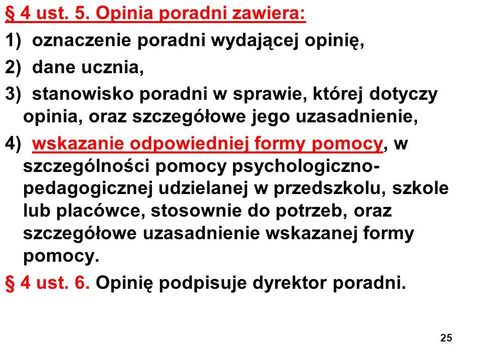 § 4 ust. 5. Opinia poradni zawiera: 1) oznaczenie poradni wydającej opinię, 2) dane ucznia, 3) stanowisko poradni w sprawie, której dotyczy opinia, or