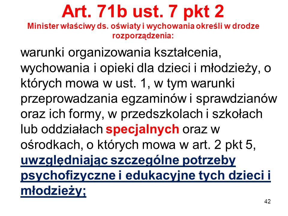 Art. 71b ust. 7 pkt 2 Minister właściwy ds. oświaty i wychowania określi w drodze rozporządzenia: warunki organizowania kształcenia, wychowania i opie