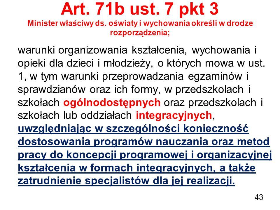 Art. 71b ust. 7 pkt 3 Minister właściwy ds. oświaty i wychowania określi w drodze rozporządzenia; warunki organizowania kształcenia, wychowania i opie