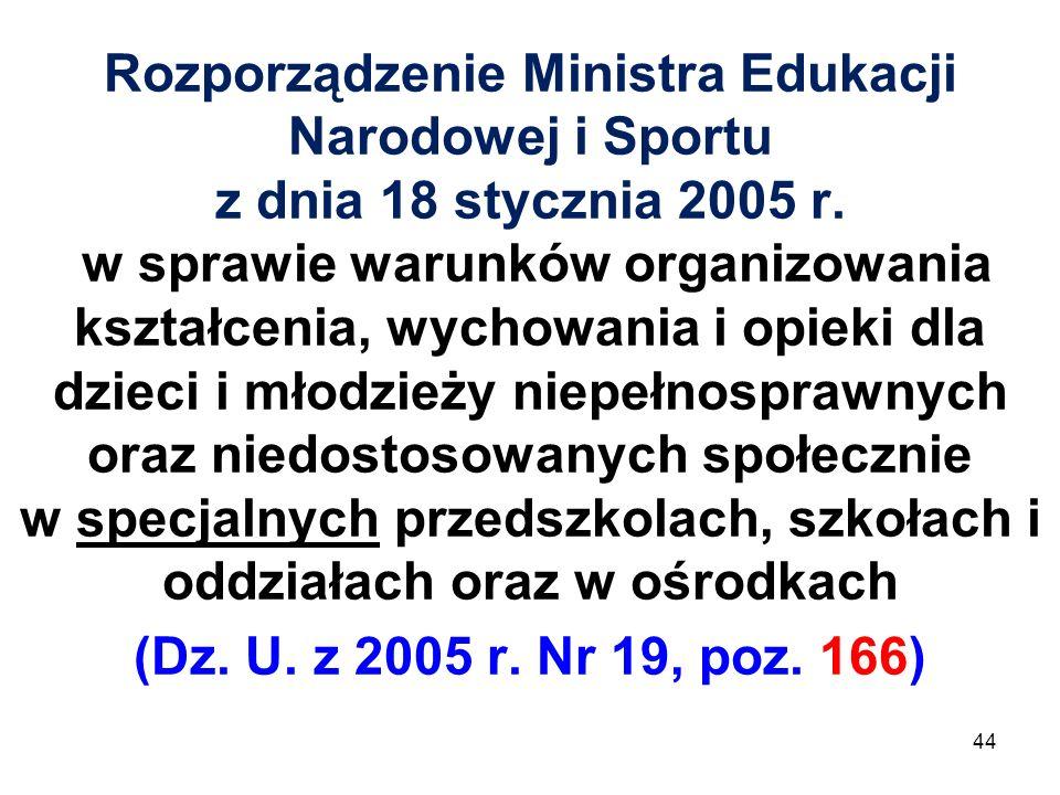 Rozporządzenie Ministra Edukacji Narodowej i Sportu z dnia 18 stycznia 2005 r. w sprawie warunków organizowania kształcenia, wychowania i opieki dla d