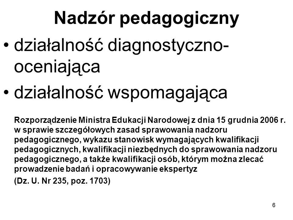 Nadzór pedagogiczny działalność diagnostyczno- oceniająca działalność wspomagająca Rozporządzenie Ministra Edukacji Narodowej z dnia 15 grudnia 2006 r