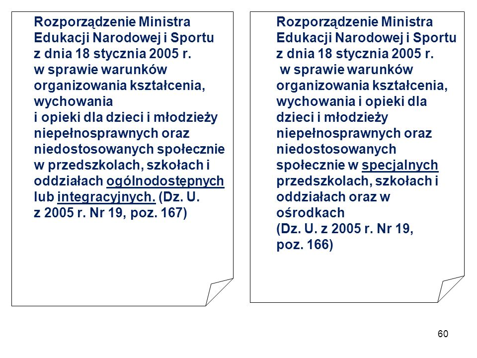 60 Rozporządzenie Ministra Edukacji Narodowej i Sportu z dnia 18 stycznia 2005 r. w sprawie warunków organizowania kształcenia, wychowania i opieki dl