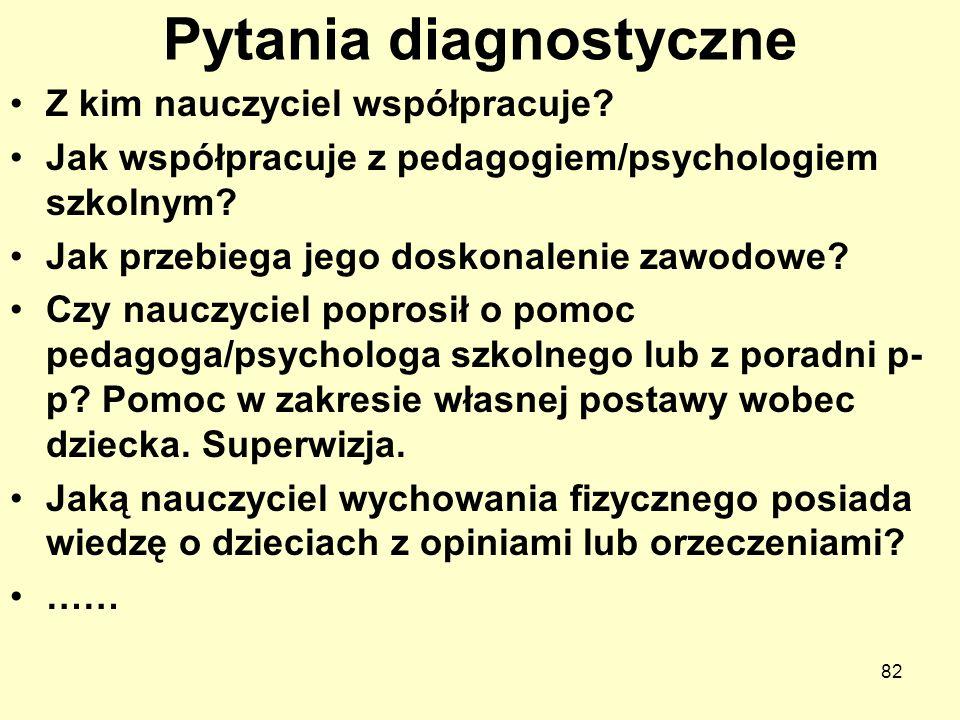 Pytania diagnostyczne Z kim nauczyciel współpracuje? Jak współpracuje z pedagogiem/psychologiem szkolnym? Jak przebiega jego doskonalenie zawodowe? Cz
