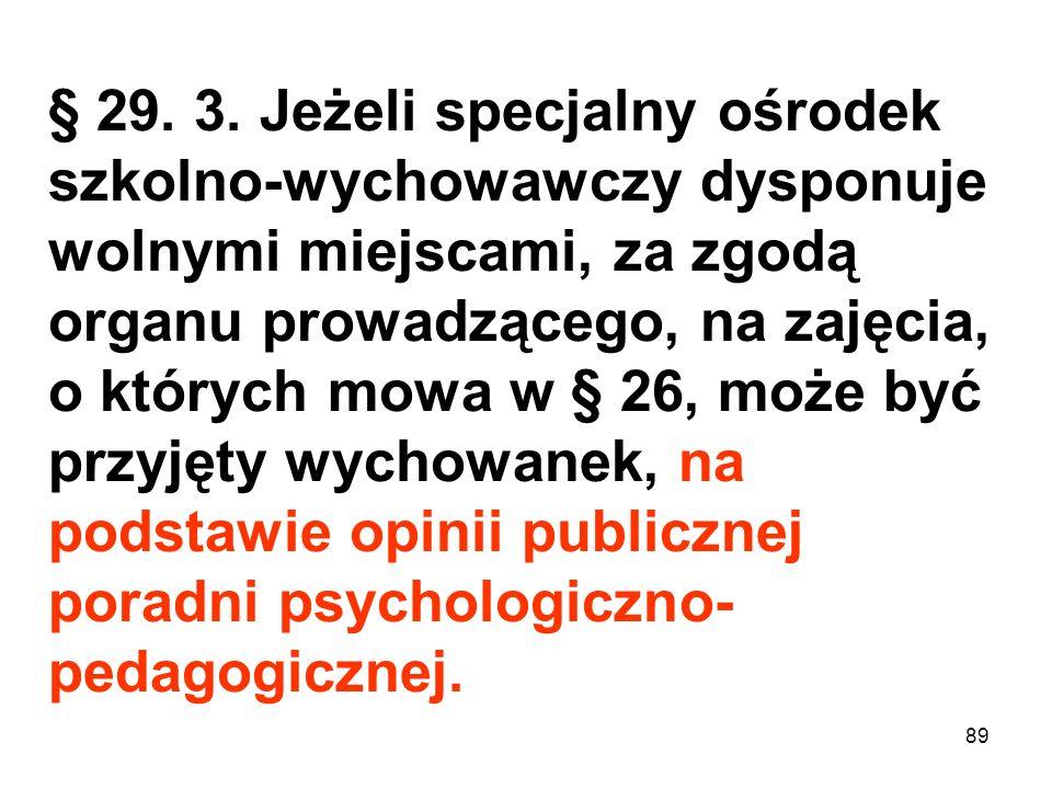 § 29. 3. Jeżeli specjalny ośrodek szkolno-wychowawczy dysponuje wolnymi miejscami, za zgodą organu prowadzącego, na zajęcia, o których mowa w § 26, mo