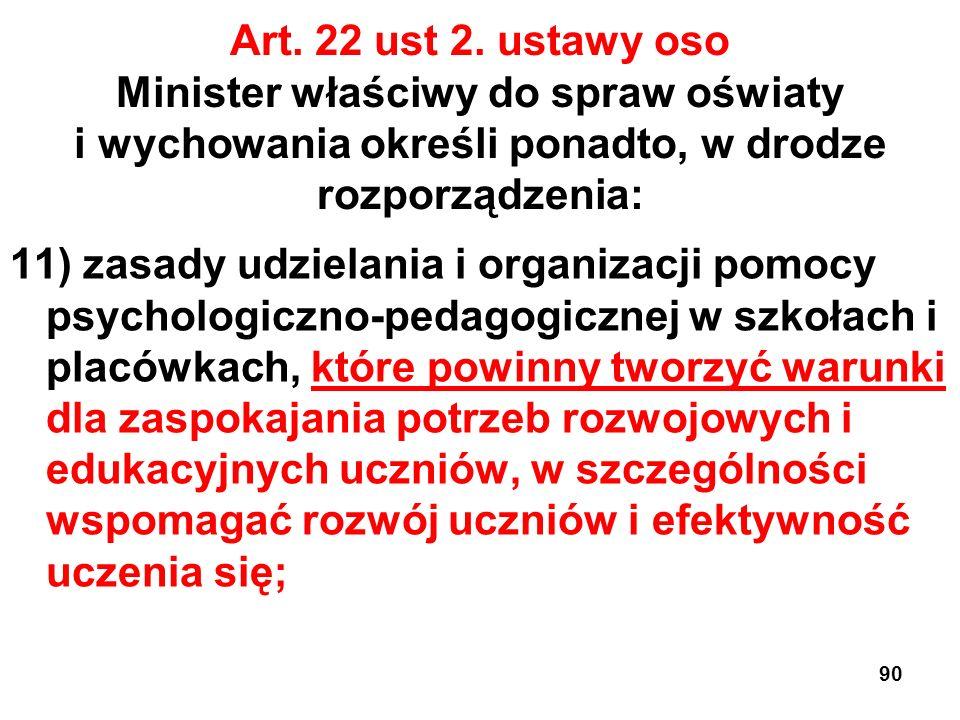 Art. 22 ust 2. ustawy oso Minister właściwy do spraw oświaty i wychowania określi ponadto, w drodze rozporządzenia: 11) zasady udzielania i organizacj