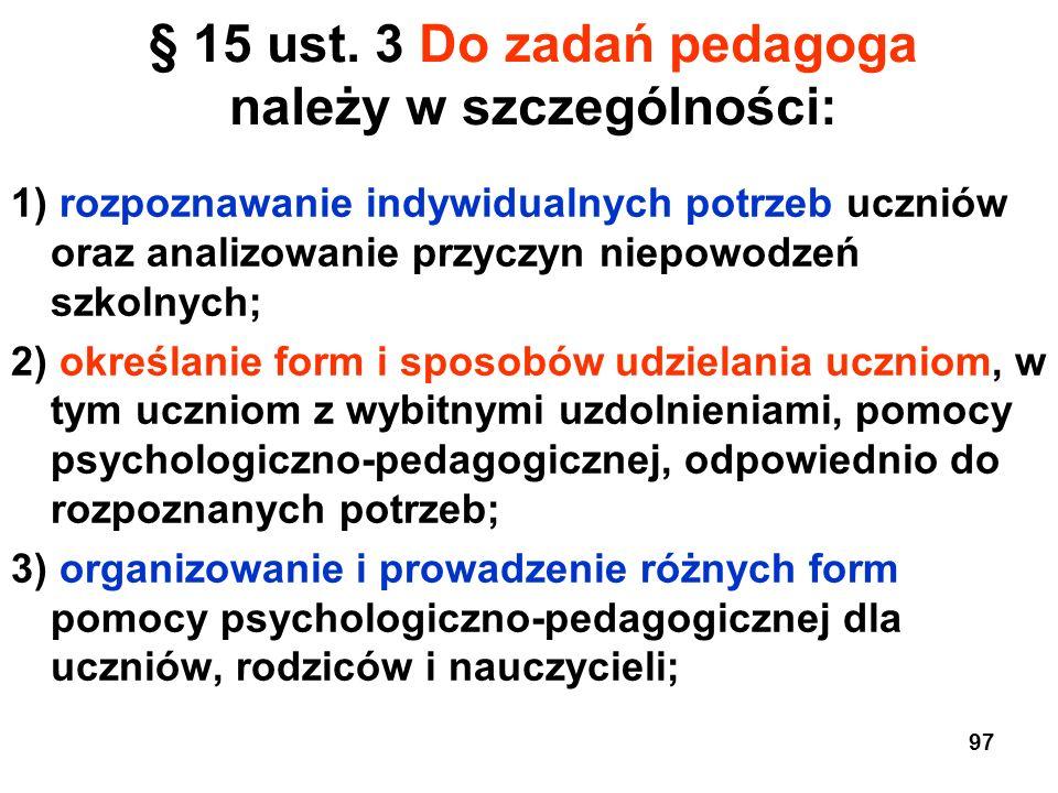 § 15 ust. 3 Do zadań pedagoga należy w szczególności: 1) rozpoznawanie indywidualnych potrzeb uczniów oraz analizowanie przyczyn niepowodzeń szkolnych