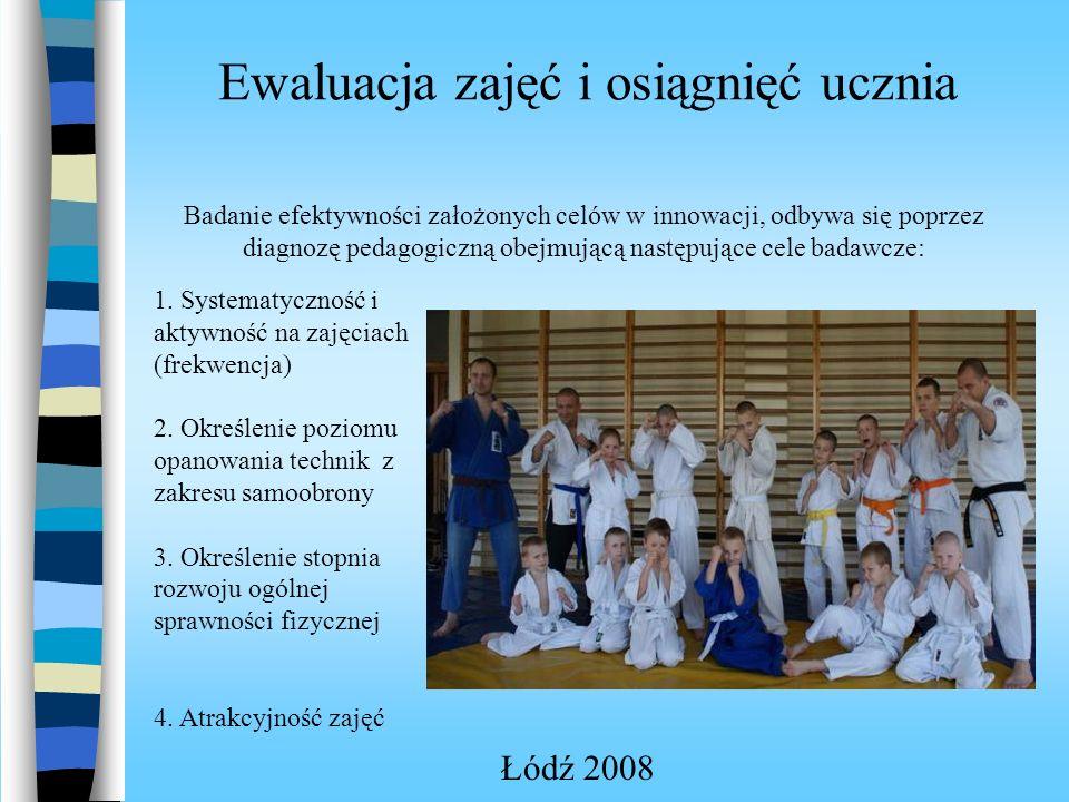 Ewaluacja zajęć i osiągnięć ucznia Łódź 2008 Badanie efektywności założonych celów w innowacji, odbywa się poprzez diagnozę pedagogiczną obejmującą następujące cele badawcze: 1.