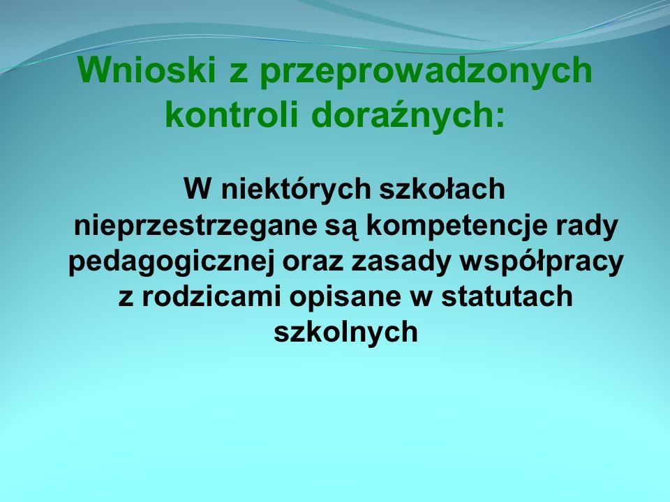 Wnioski z przeprowadzonych kontroli doraźnych: W niektórych szkołach nieprzestrzegane są kompetencje rady pedagogicznej oraz zasady współpracy z rodzi