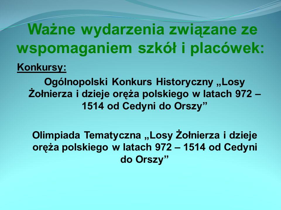Ważne wydarzenia związane ze wspomaganiem szkół i placówek: Konkursy: Ogólnopolski Konkurs Historyczny Losy Żołnierza i dzieje oręża polskiego w latac