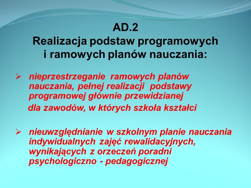 AD.2 Realizacja podstaw programowych i ramowych planów nauczania: nieprzestrzeganie ramowych planów nauczania, pełnej realizacji podstawy programowej