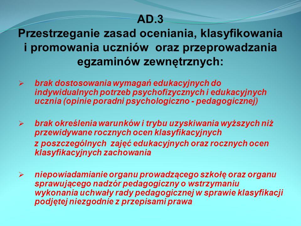 AD.4 P rzestrzeganie przepisów dotyczących obowiązku szkolnego i obowiązku nauki przyjmowanie do szkół ponadgimnazjalnych słuchaczy niebędących absolwentami szkół dających właściwą podbudowę (dotyczy szkół niepublicznych z uprawnieniami szkoły publicznej) przyjmowanie do szkół zawodowych, uczniów bez zaświadczeń lekarskich stwierdzających brak przeciwwskazań zdrowotnych do kształcenia w danym zawodzie brak szczegółowych zasad (kryteriów) dotyczących przyjmowania uczniów do gimnazjum, w przypadku gdy liczba kandydatów zamieszkałych poza obwodem danego gimnazjum jest większa niż liczba wolnych miejsc, którymi dysponuje szkoła