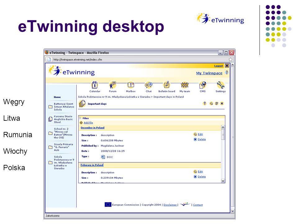 eTwinning desktop Węgry Litwa Rumunia Włochy Polska