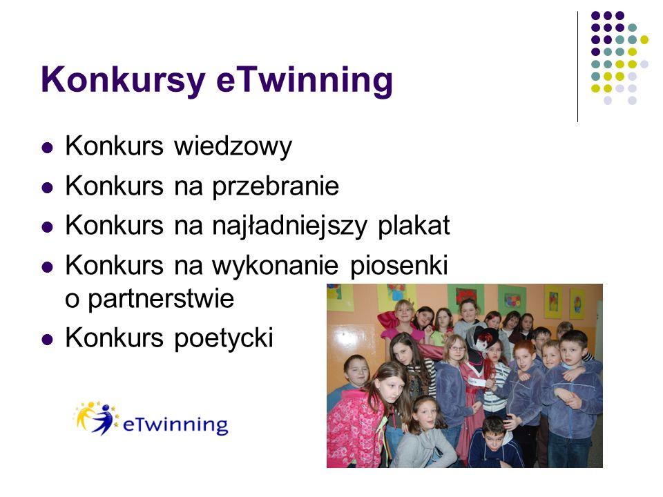 Konkursy eTwinning Konkurs wiedzowy Konkurs na przebranie Konkurs na najładniejszy plakat Konkurs na wykonanie piosenki o partnerstwie Konkurs poetycki