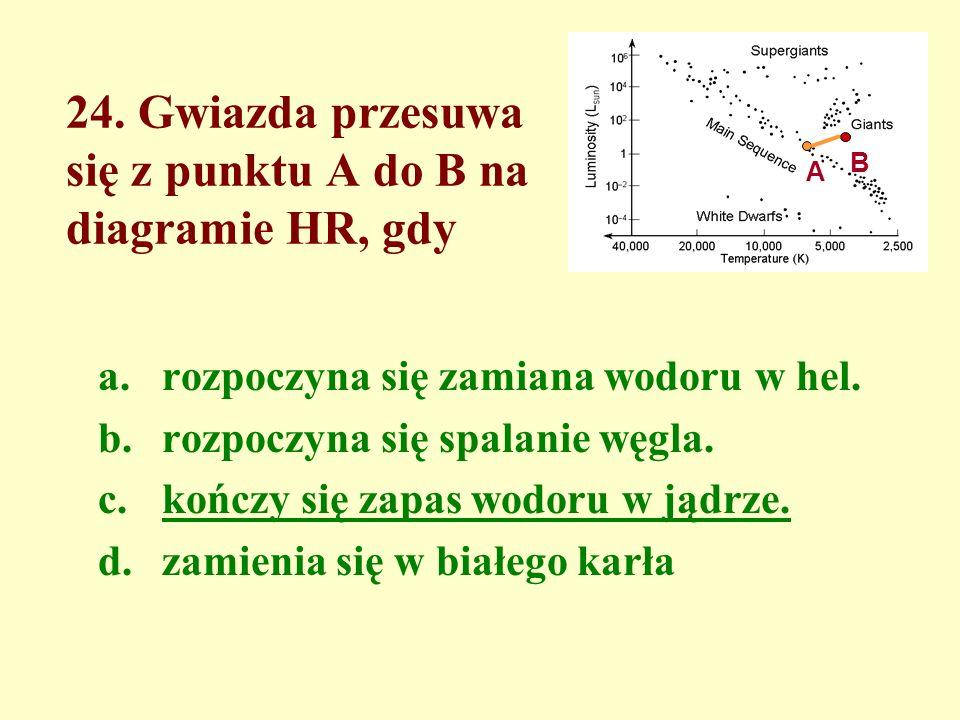 24. Gwiazda przesuwa się z punktu A do B na diagramie HR, gdy a.rozpoczyna się zamiana wodoru w hel. b.rozpoczyna się spalanie węgla. c.kończy się zap