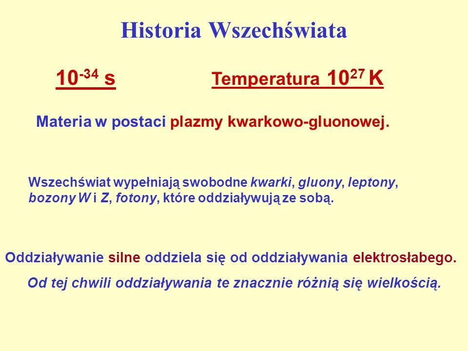 Historia Wszechświata Materia w postaci plazmy kwarkowo-gluonowej. 10 -34 s Temperatura 10 27 K Oddziaływanie silne oddziela się od oddziaływania elek
