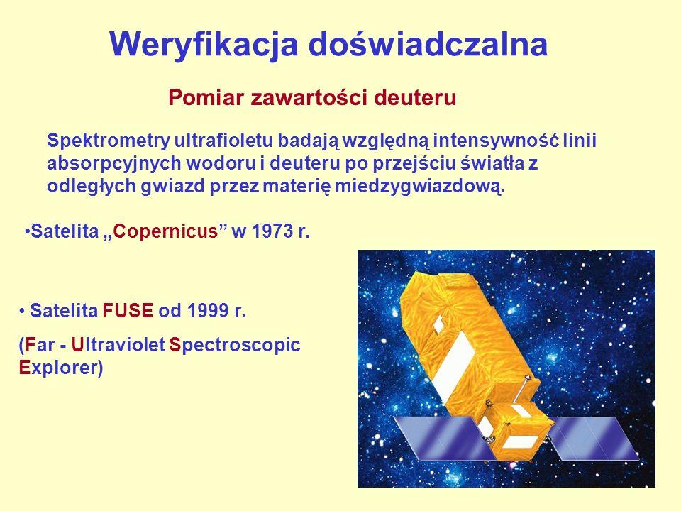 Weryfikacja doświadczalna Pomiar zawartości deuteru Satelita Copernicus w 1973 r. Satelita FUSE od 1999 r. (Far - Ultraviolet Spectroscopic Explorer)