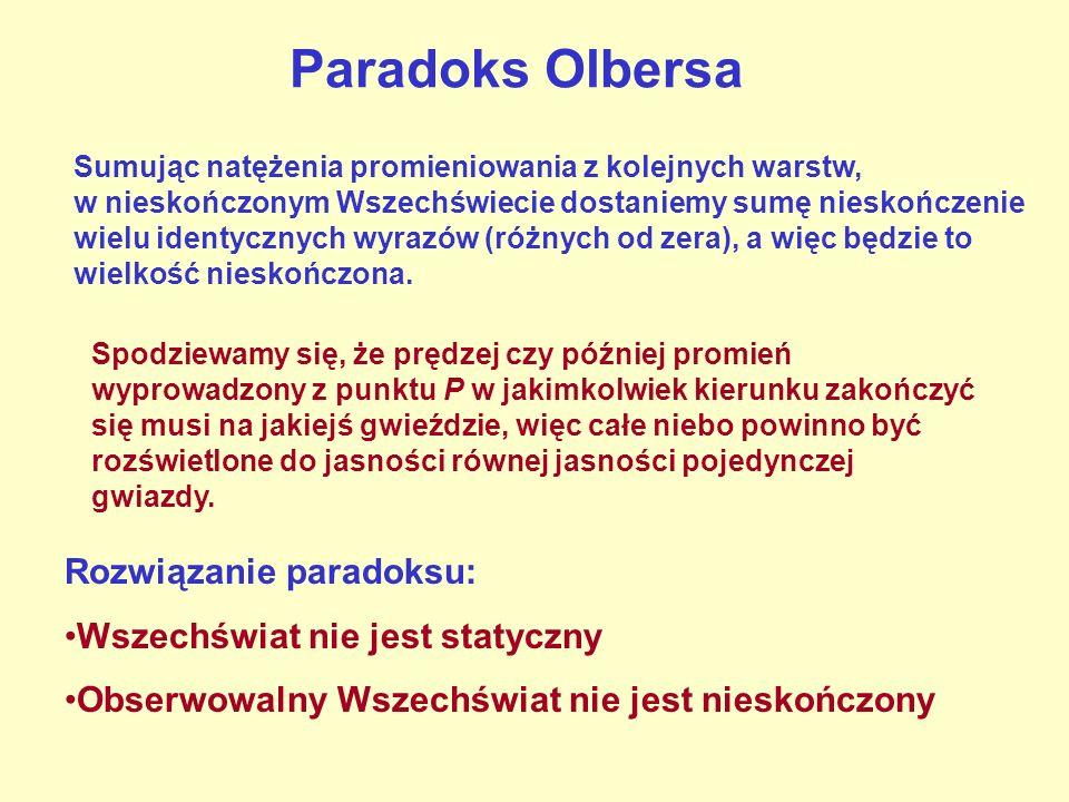 Paradoks Olbersa Sumując natężenia promieniowania z kolejnych warstw, w nieskończonym Wszechświecie dostaniemy sumę nieskończenie wielu identycznych w