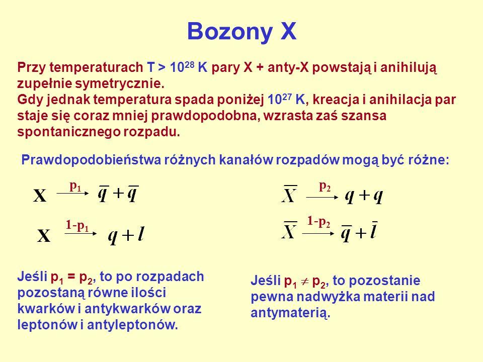 Bozony X Przykład: rozpad mezonu K 0 K0K0 p1p1 p2p2 K0K0 1-p 1 inne produkty 1-p 2 inne produkty Z pomiarów wynika że, p 1 i p 2 różnią się o 0.007 Analogiczna różnica p 1 i p 2 dla bozonów X rzędu 10 -9 wystarczy do wyjaśnienia obserwowanego obecnie stosunku ilości barionów do fotonów we Wszechświecie.