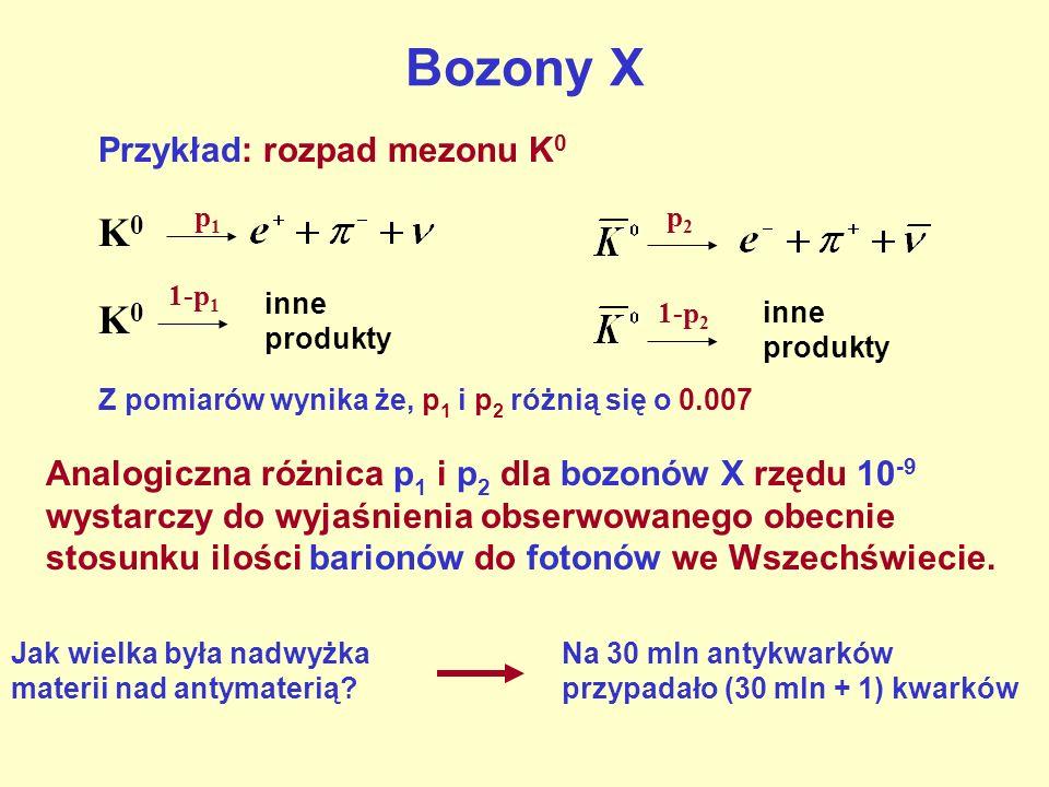 Bozony X Przykład: rozpad mezonu K 0 K0K0 p1p1 p2p2 K0K0 1-p 1 inne produkty 1-p 2 inne produkty Z pomiarów wynika że, p 1 i p 2 różnią się o 0.007 An