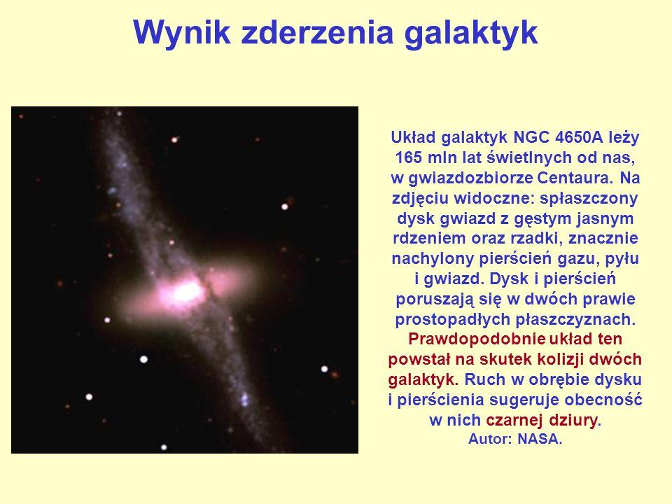Wynik zderzenia galaktyk Układ galaktyk NGC 4650A leży 165 mln lat świetlnych od nas, w gwiazdozbiorze Centaura. Na zdjęciu widoczne: spłaszczony dysk