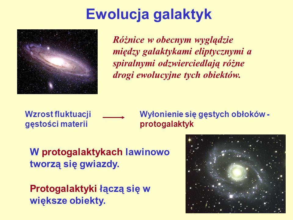 Różnice w obecnym wyglądzie między galaktykami eliptycznymi a spiralnymi odzwierciedlają różne drogi ewolucyjne tych obiektów. Wzrost fluktuacji gęsto