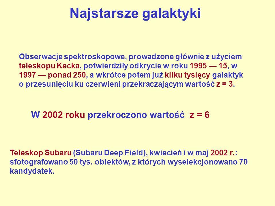 Najstarsze galaktyki Obserwacje spektroskopowe, prowadzone głównie z użyciem teleskopu Kecka, potwierdziły odkrycie w roku 1995 15, w 1997 ponad 250,