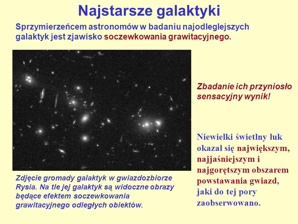 Sprzymierzeńcem astronomów w badaniu najodleglejszych galaktyk jest zjawisko soczewkowania grawitacyjnego. Najstarsze galaktyki Zdjęcie gromady galakt
