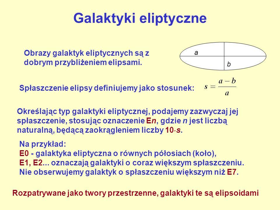 Galaktyki eliptyczne Określając typ galaktyki eliptycznej, podajemy zazwyczaj jej spłaszczenie, stosując oznaczenie En, gdzie n jest liczbą naturalną,