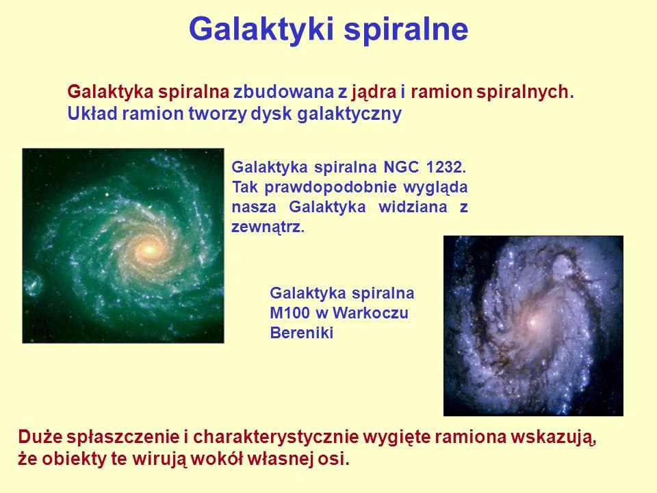 Galaktyki spiralne NGC 3184 - galaktyka spiralna, w środku zdjęcia jądro galaktyki, wokół niego spiralnie ułożone ramiona.