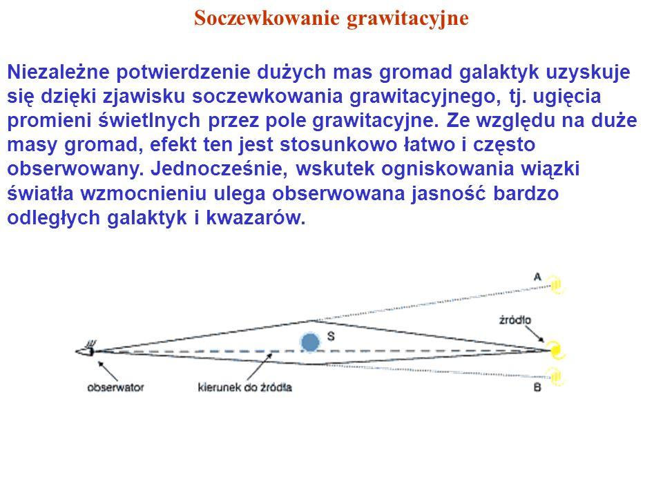 Niezależne potwierdzenie dużych mas gromad galaktyk uzyskuje się dzięki zjawisku soczewkowania grawitacyjnego, tj.