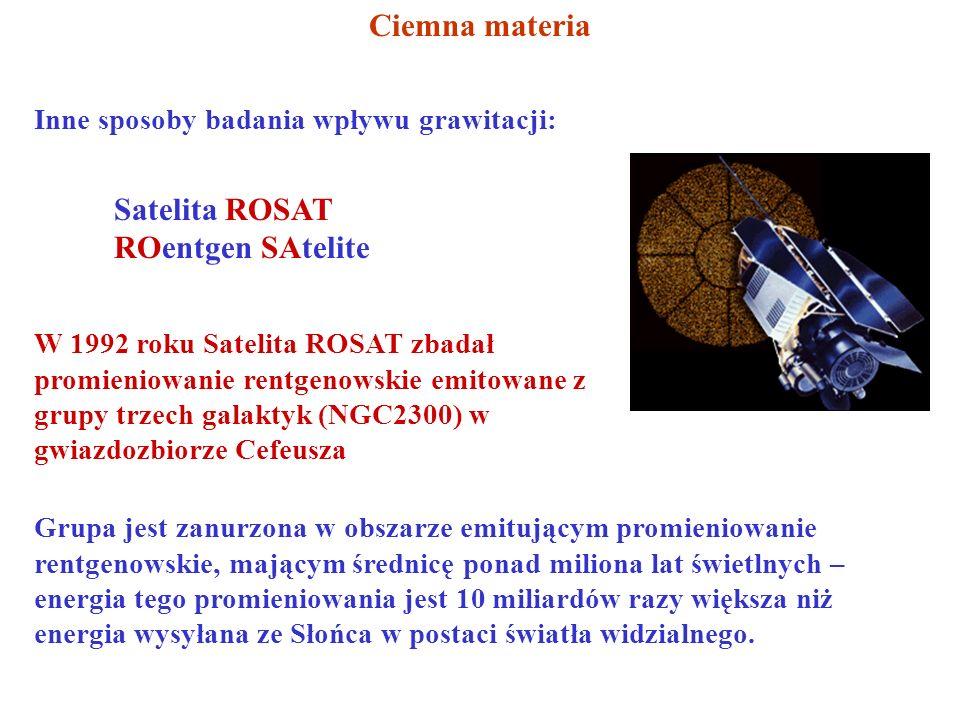 Ciemna materia Inne sposoby badania wpływu grawitacji: Satelita ROSAT ROentgen SAtelite W 1992 roku Satelita ROSAT zbadał promieniowanie rentgenowskie