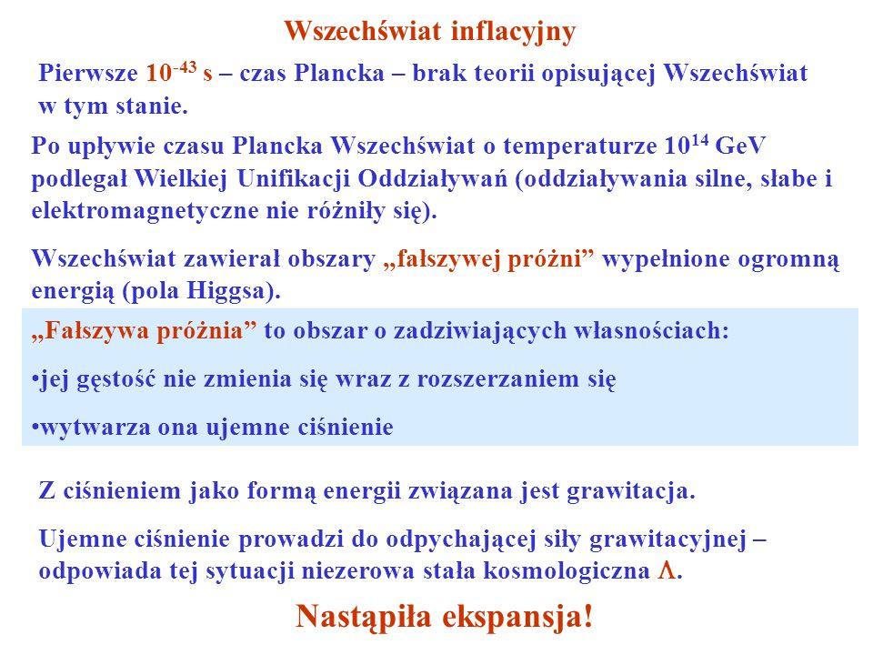 Wszechświat inflacyjny Pierwsze 10 -43 s – czas Plancka – brak teorii opisującej Wszechświat w tym stanie.