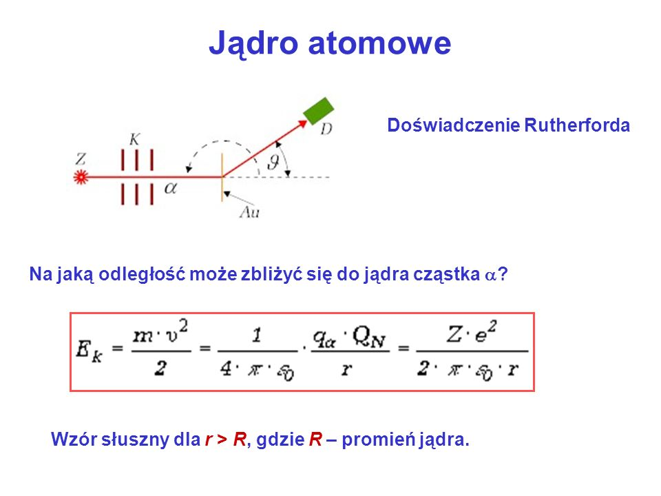 Jądro atomowe Doświadczenie Rutherforda Na jaką odległość może zbliżyć się do jądra cząstka .