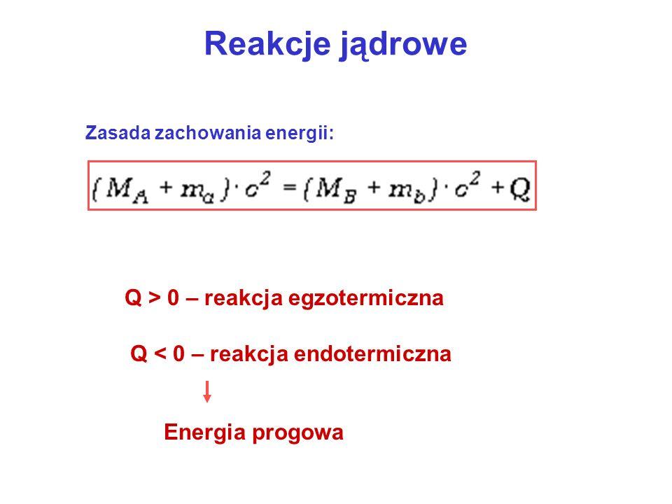 Reakcje jądrowe Zasada zachowania energii: Q > 0 – reakcja egzotermiczna Q < 0 – reakcja endotermiczna Energia progowa