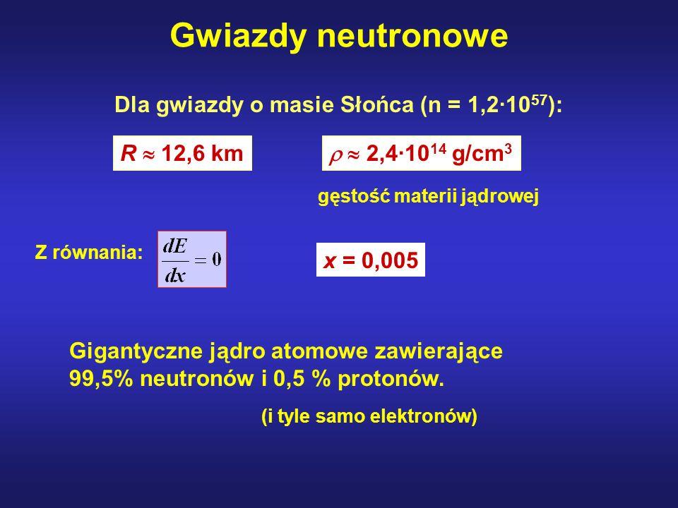Gwiazdy neutronowe R 12,6 km 2,4·10 14 g/cm 3 Dla gwiazdy o masie Słońca (n = 1,2·10 57 ): gęstość materii jądrowej Z równania: x = 0,005 Gigantyczne