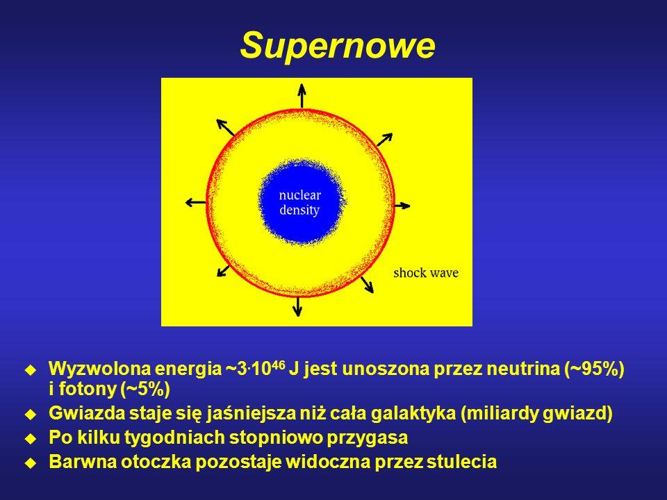 Supernowe Wyzwolona energia ~3. 10 46 J jest unoszona przez neutrina (~95%) i fotony (~5%) u Gwiazda staje się jaśniejsza niż cała galaktyka (miliardy