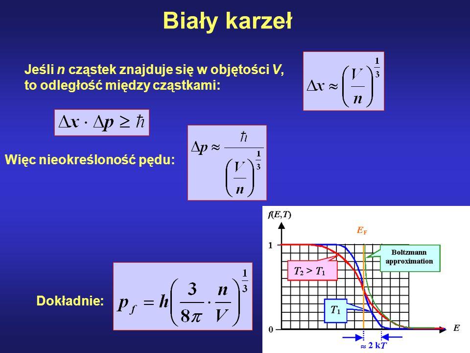 Jeśli n cząstek znajduje się w objętości V, to odległość między cząstkami: Więc nieokreśloność pędu: Dokładnie:
