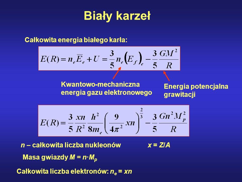 Biały karzeł Całkowita energia białego karła: Kwantowo-mechaniczna energia gazu elektronowego Energia potencjalna grawitacji n – całkowita liczba nukl