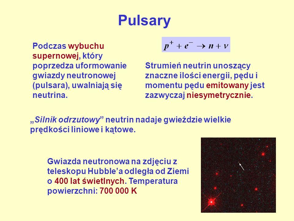 Podczas wybuchu supernowej, który poprzedza uformowanie gwiazdy neutronowej (pulsara), uwalniają się neutrina. Strumień neutrin unoszący znaczne ilośc