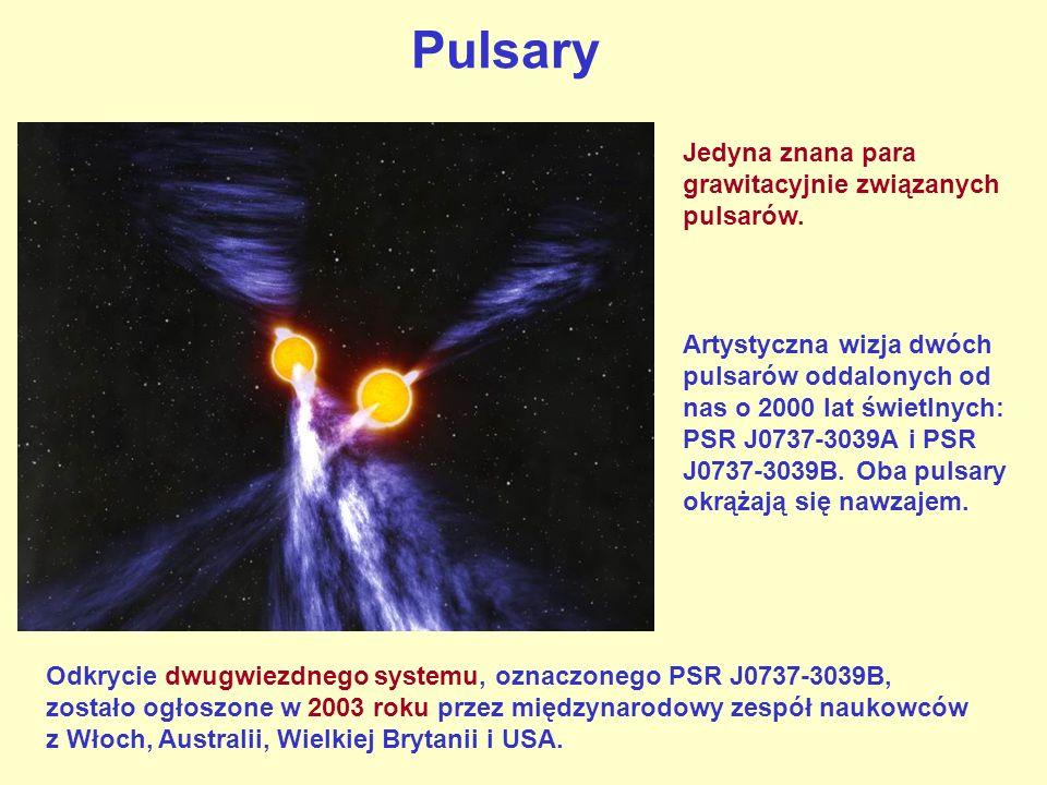 Pulsary Artystyczna wizja dwóch pulsarów oddalonych od nas o 2000 lat świetlnych: PSR J0737-3039A i PSR J0737-3039B. Oba pulsary okrążają się nawzajem