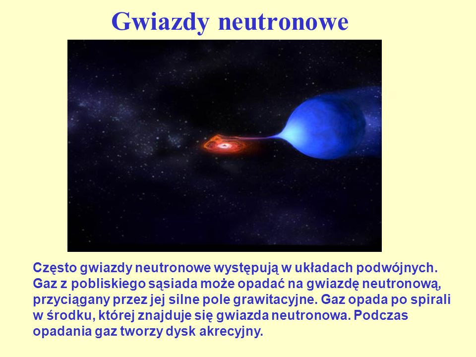 Struktura gwiazdy neutronowej Rozkład nukleonów w materii jądrowej przy malejącej gęstości przewidziany przez model teoretyczny ( 0 – gęstość jądrowa).
