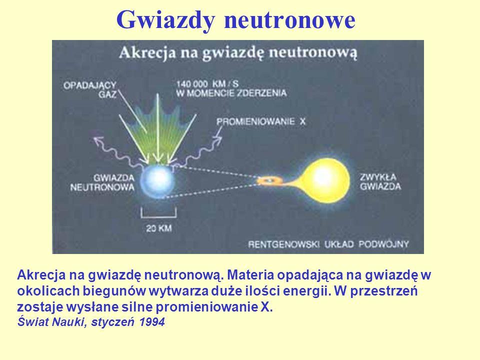 Supernowe Znamy dwa typy supernowych: Typ IaTyp II Jaśniejsze (jaśniejsze od Słońca 2,5 miliarda razy) Ciemniejsze (jaśniejsze od Słońca miliard razy) Jasność maleje w sposób regularny Jasność maleje chaotycznie Wodór występuje w dużych ilościach Brak wodoru w ich składzie Występują najczęściej w ramionach galaktyk spiralnych Występują bardziej powszechnie: w galaktykach spiralnych (zarówno w centrum jak i w ramionach) i w galaktykach eliptycznych