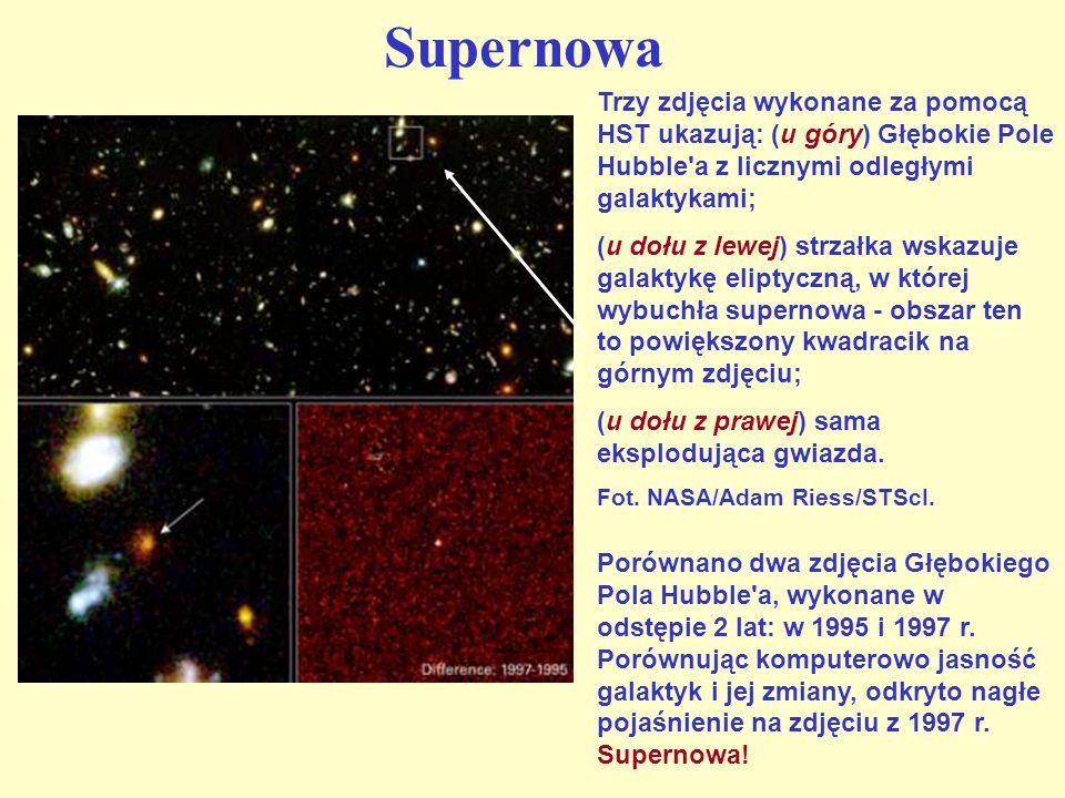 Supernowa Porównano dwa zdjęcia Głębokiego Pola Hubble'a, wykonane w odstępie 2 lat: w 1995 i 1997 r. Porównując komputerowo jasność galaktyk i jej zm