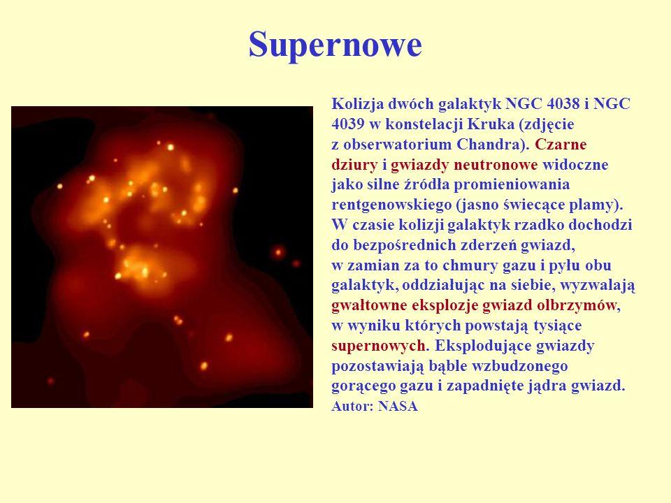 Supernowe Kolizja dwóch galaktyk NGC 4038 i NGC 4039 w konstelacji Kruka (zdjęcie z obserwatorium Chandra). Czarne dziury i gwiazdy neutronowe widoczn